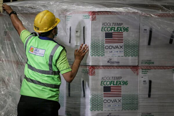 Unloading boxes of Moderna's Covid-19 vaccine in Tangerang, Indonesia, this month.