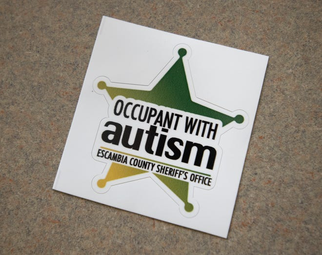 """""""Occupant with autism"""" stickers are now available from the Escambia County Sheriff's Office. The stickers, which can be displayed on a vehicle or on the front door of a home, alert first responders that a person with autism may be present when they respond to a call."""