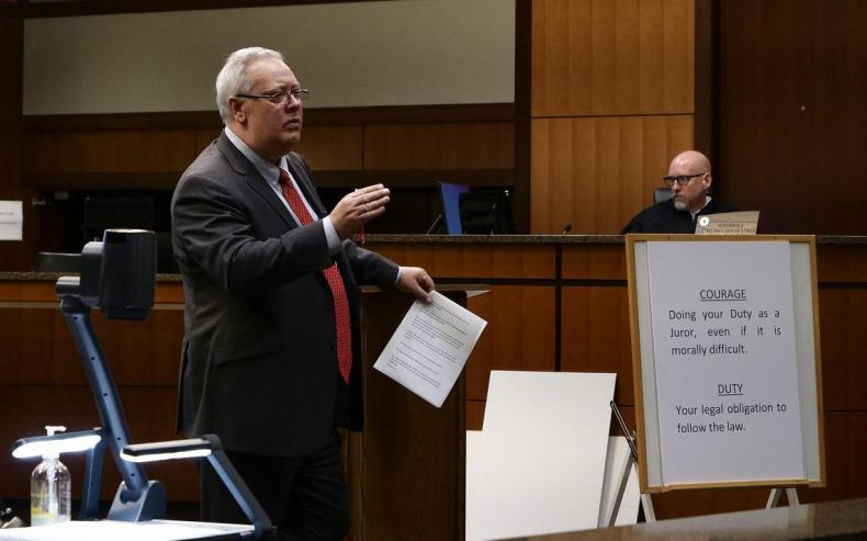 Defense attorney Jeff Bredahl argues in closing statement in the felony jury trial of his client, former West Fargo teacher Ronald Thompson, on Wednesday, Oct. 14, 2021. Bredahl said Thompson did not commit the crime of a luring a minor by computer. Chris Flynn/ The Forum