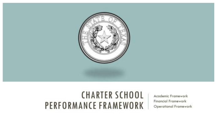 State Seal on Seafoam green report cover. Text: Charter School Performance Framework