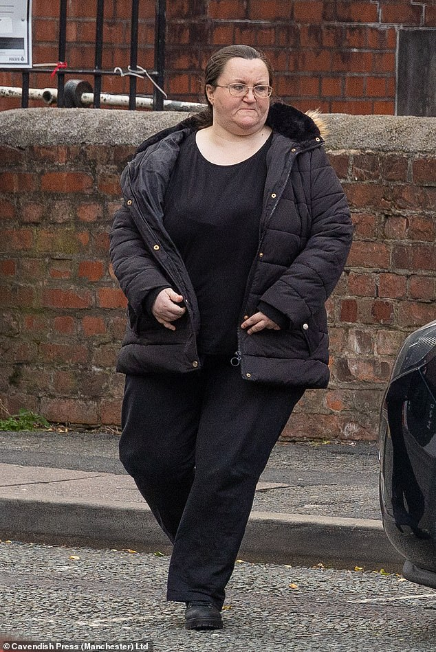 Rachael Larkman was given a suspended prison sentence after a court heard she shared child abuse images in a warped attempt to 'keep alive' a relationship with her boyfriend. Pictured: Larkman outside Minshull Street Crown Court