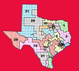 Map of Texas divided into 31 Senate districts on bright red background