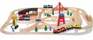 Melissa & Doug Deluxe Wooden Railway Train Set