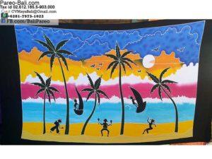 Hand Painted Pareo Beach Scene from Bali Indonesia
