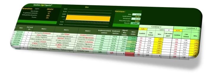 Interface de la gestion financière Opti'Sports pour les paris sportifs - Pari-Gagnant.com