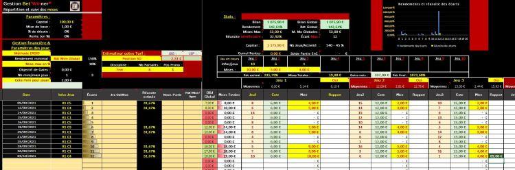 Interface gestion Bet'Winner® sélection rentable offerte - Gagner au Turf - Pari-Gagnant.com
