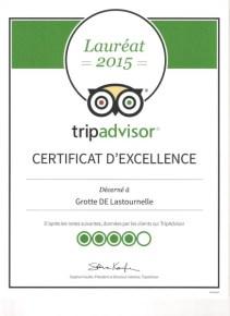 certificat d'excellence Tripadvisor-Grotte de Lastournelle 001