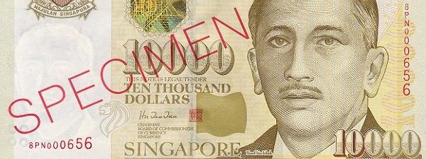 Billet de 10,000$ à Singapour