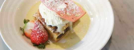 bread and butter pudding with vanilla seed ice cream