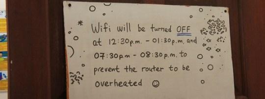 Le wifi est coupé aux heures des repas