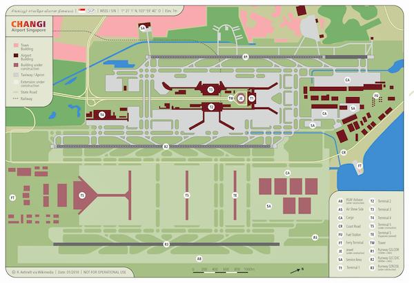 Plan de l'aeroport de Singapour