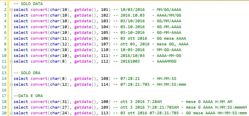 Formattazione data e ora in SQL