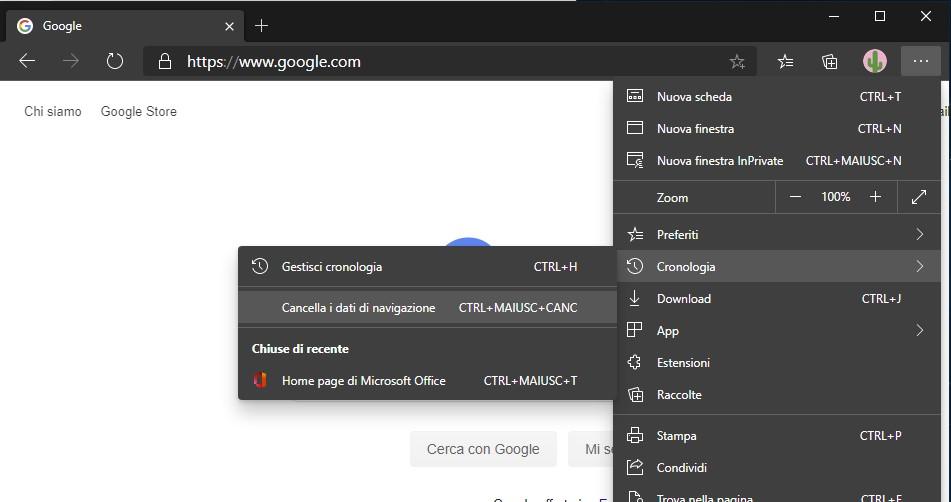Pulizia della Cache del Browser