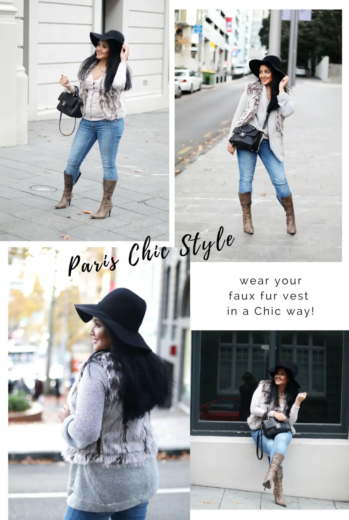 Paris Chic Style How To Wear A Faux Fur Vest Parisian Chic Style Everyday Fashion 1 (1)