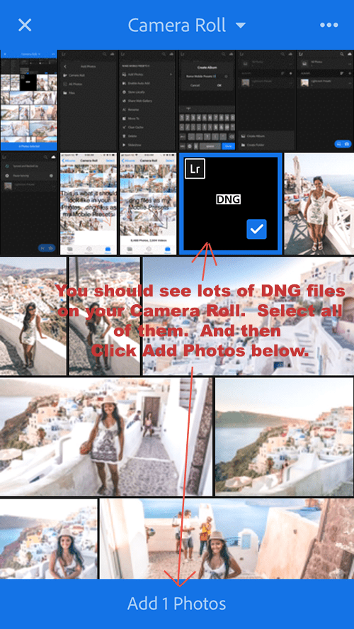 Export DNG files to Lightroom Mobile from Camera Roll