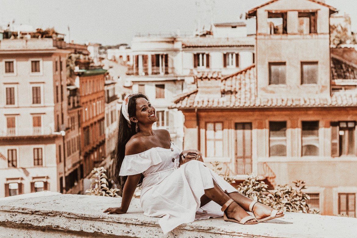 How-To-Wear-Off-Shoulder-Dress-Light-Blush-Pink-Button-Down-Dress-Rattan-Straw-Basket-Bag-Flat-Sandal-Headwrap-Paris-Chic-Style-Fashion-Lookbook-Street-Style-ootd Outfit Of The Day-Rome-Italy-3