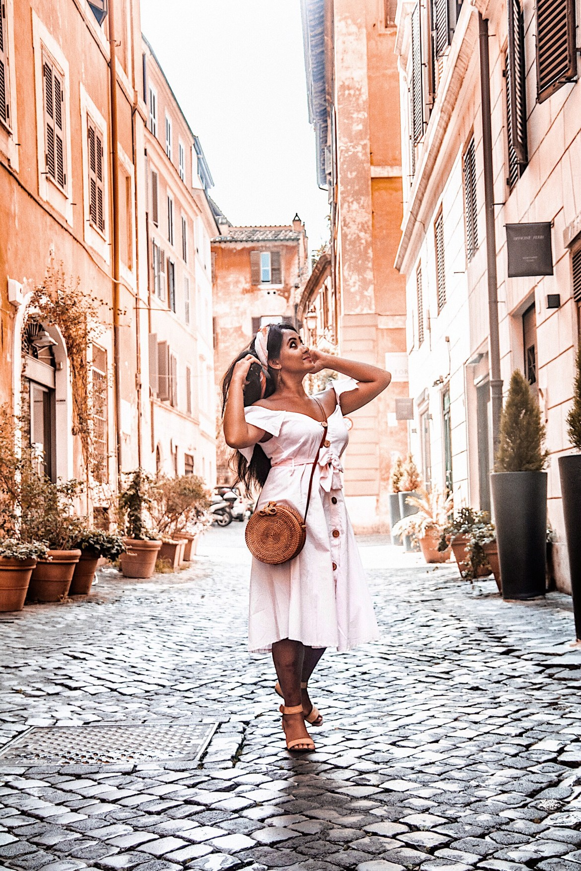 Marjolyn Lago Marj How-To-Wear-Off-Shoulder-Dress-Light-Blush-Pink-Button-Down-Dress-Rattan-Straw-Basket-Bag-Flat-Sandal-Headwrap-Paris-Chic-Style-Fashion-Lookbook-Street-Style-Rome-Italy-ootd Outfit Of The Day-6
