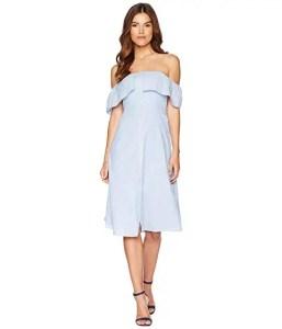 How-to-wear-off-shoulder-dress-white-bardot-frill-button-front-a-line-dress-light-blue-dress-Paris-Chic-Style-6