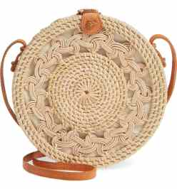 Best Crossbody Bags For A Red Dress Woven Rattan Circle Crossbody Bag STREET LEVEL Paris Chic Style 1