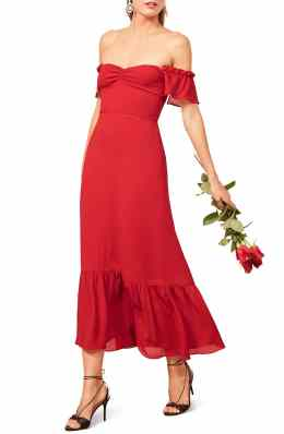 Best Red Dress How To Wear A Red Dress Butterfly Midi Dress REFORMATION Paris Chic Style 4