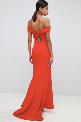 Best Red Dress How To Wear A Red Dress Jarlo cross front and back bardot maxi dress in red Paris Chic Style 10