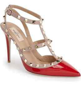 What Color Shoes To Wear With A Red Dress Red Shoes Rockstud T-Strap Pump VALENTINO GARAVANI Paris Chic Style 2