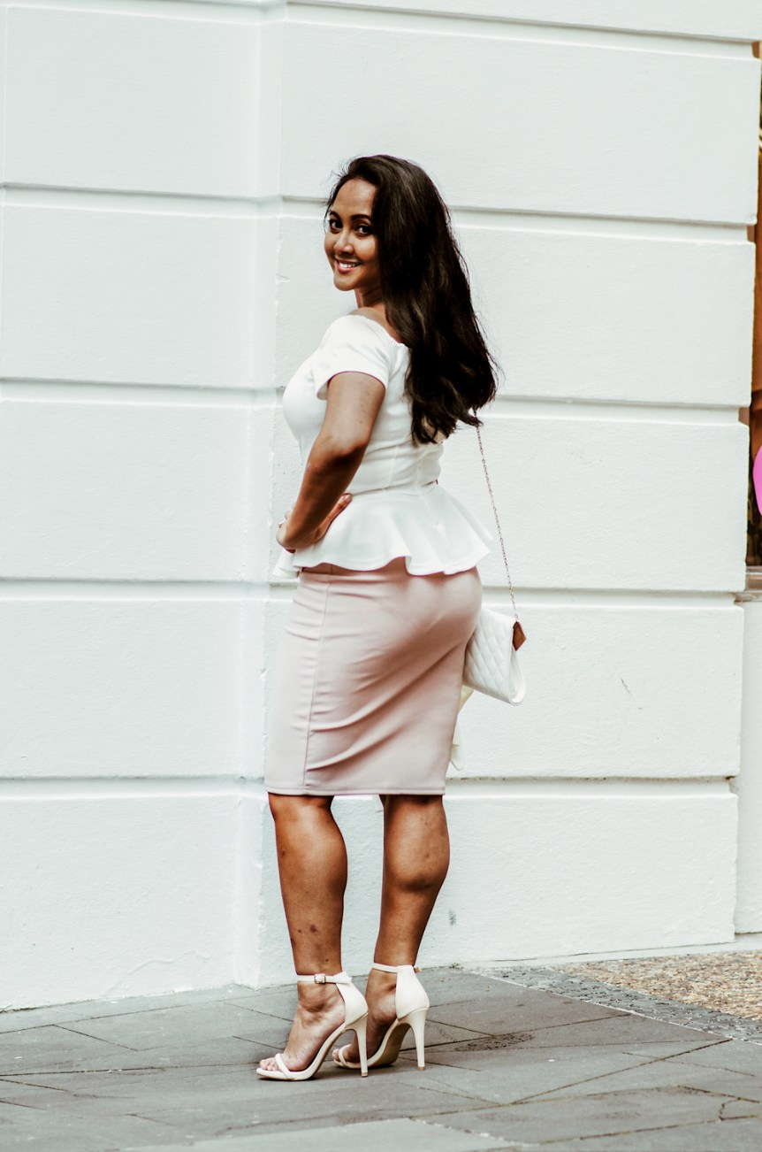 How to wear a pencil skirt peplum top off the shoulder top parisian style