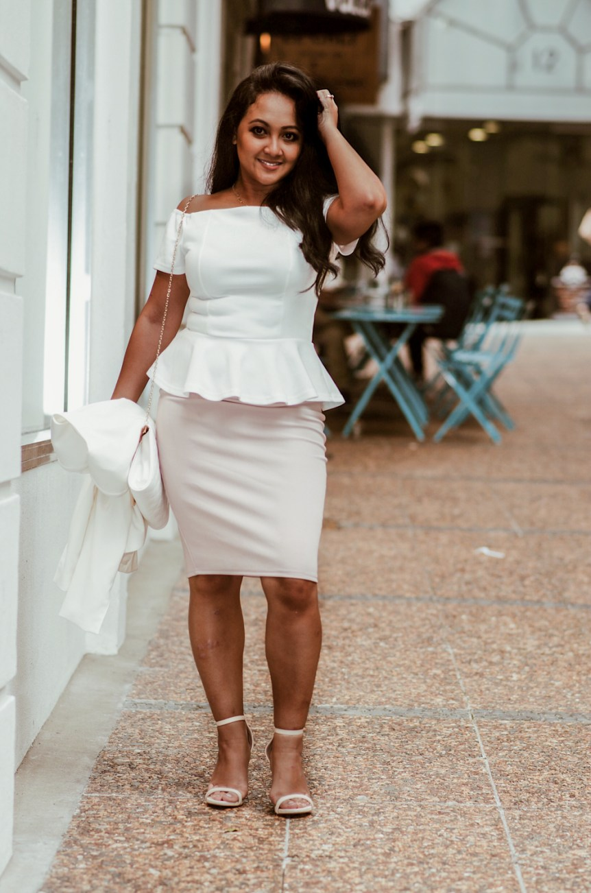 Marjolyn Lago Marj How to wear a pencil skirt peplum top off the shoulder top parisian style