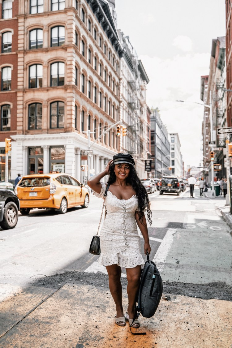 Paris Chic Style What To Wear In New York City off the shoulder white dress