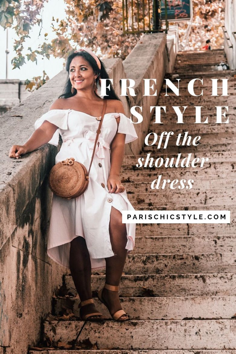 French Style Off The Shoulder Dress Rome Italy StreetStyle Wear Parisian Outfit Paris Chic Style