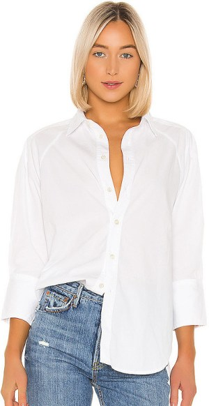 Parisian French Style White Shirt Button Down Long Sleeve Paris Chic Style