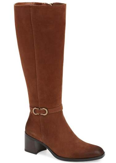 Most Comfortable Stylish Knee High Boots For Wide Calves Naturalizer Sterling Long Boots Tan Suede Paris Chic Style 4