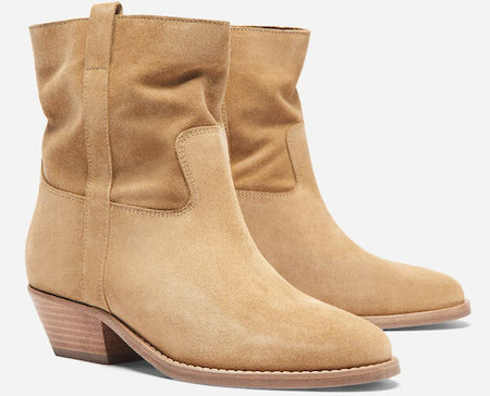 Ba&sh Comfortable Stylish Brown French Boots For Work, Walking Everyday Parisian Streetstyle Shoes Paris Chic Style