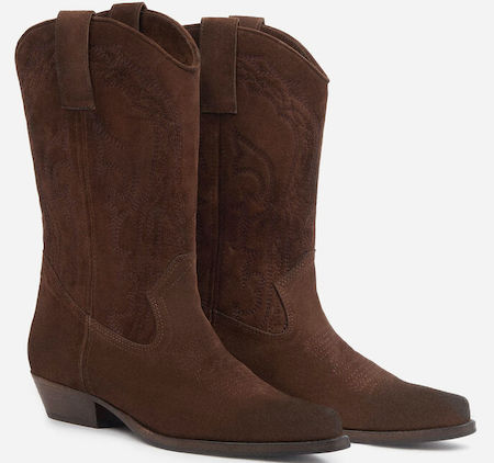 Ba&sh Fashionable Cowboy Brown French Boots For Work, Walking Everyday Parisian Streetstyle Shoes Paris Chic Style