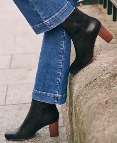 Sezane Paris Fashion Black French Boots For Walking Work Travel Sightseeing Parisian Streetstyle Shoes Paris Chic Style