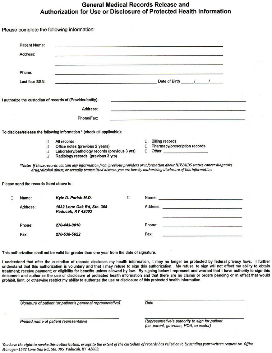 Authorization Letter Get Medical Records authorization release – Medical Release Form