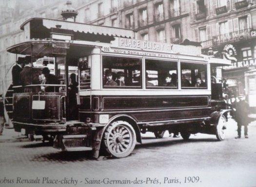 Autobus Renault Place Clichy Saint Germain des Prés, Paris, 1909