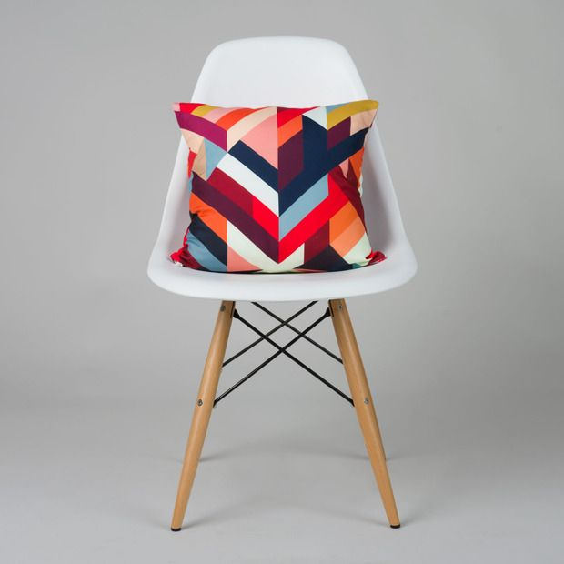 Dot and Bo Right Angles Pillow Cover in Red