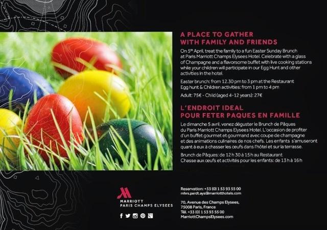 Brunch de Pâques et chasse aux oeufs Marriott Champs Elysees