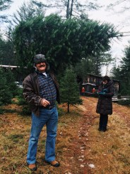Dad carrying our tree, Shelly