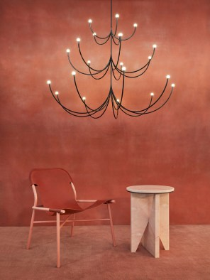 Faye Toogood's fiberglass lamps, Ana Kras's marble dining table