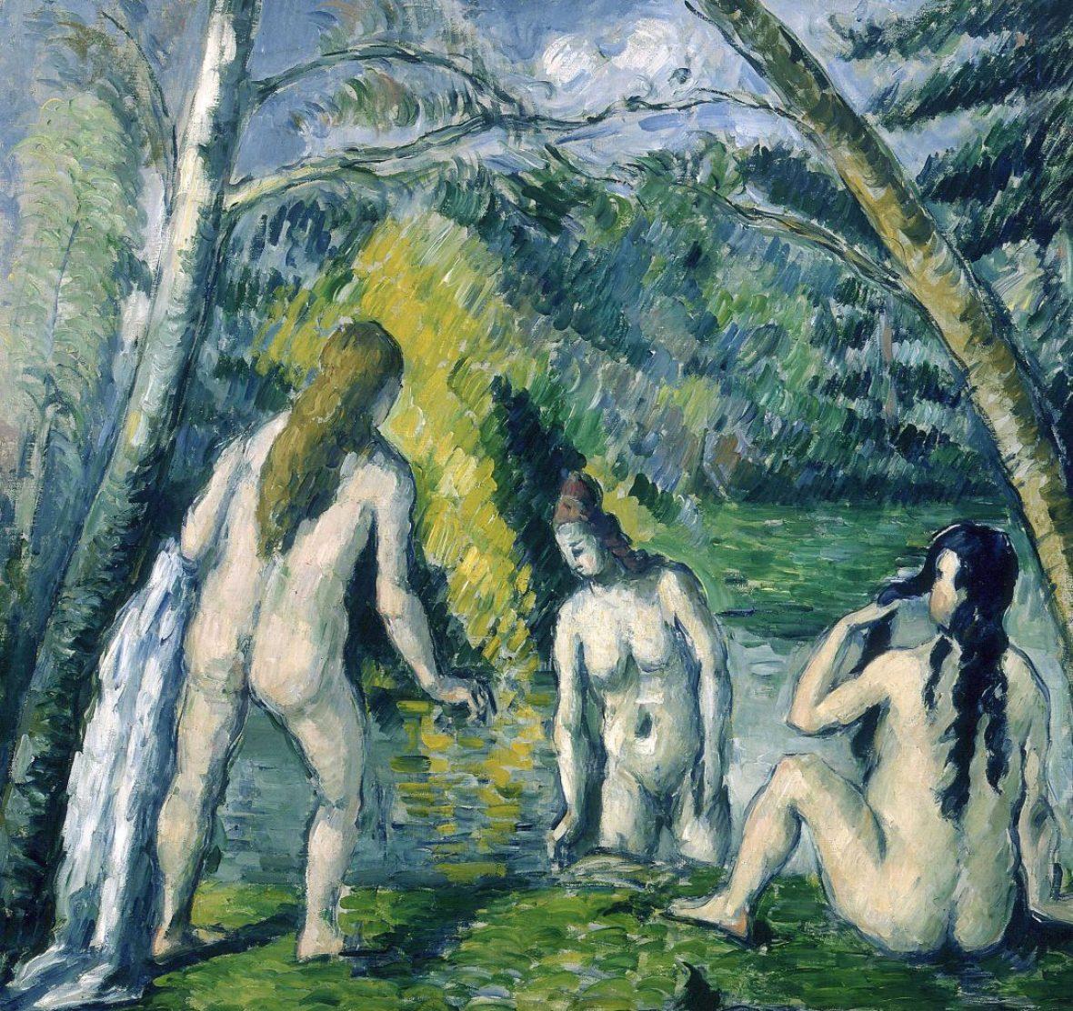 Paul Cézanne, Three Bathers, oil on canvas, 1879-1882, Petit Palais, Paris. Public domain.