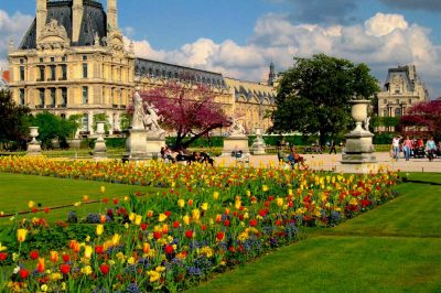 April in Paris at the Jardin des Tuileries, with the Louvre museum in the distance. Luke Van Grieken/Creative Commons 2.0 license
