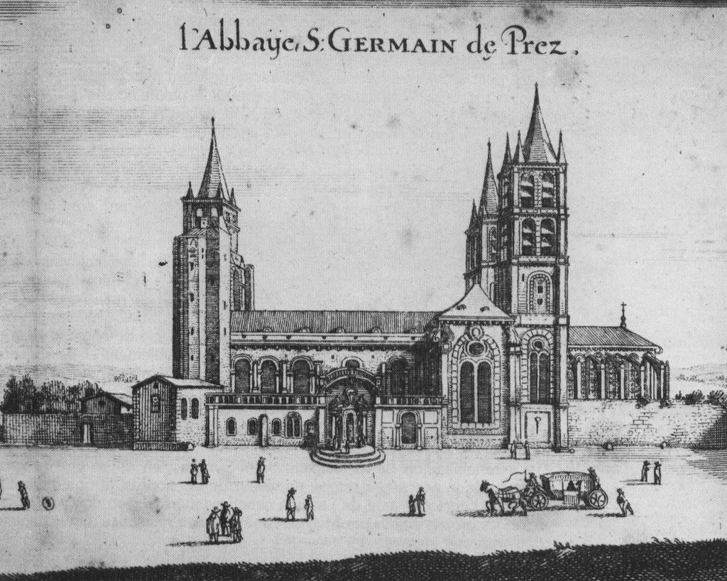 A 17th-century engraving from Israel Sylvestre shows what the Abbey at St-Germain-des-Pres in Paris looked like at the time. Wikimedia Commons