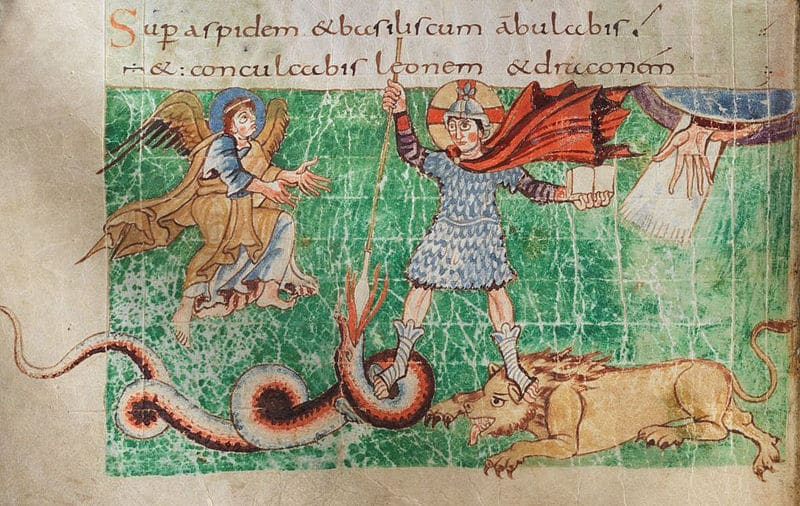 An image from the Stuttgart Psalter, a famous Carolingian manuscript dating to about 820 and widely believed to have been produced at the Scriptorium at St-Germain. Charlemagne may have commissioned it.