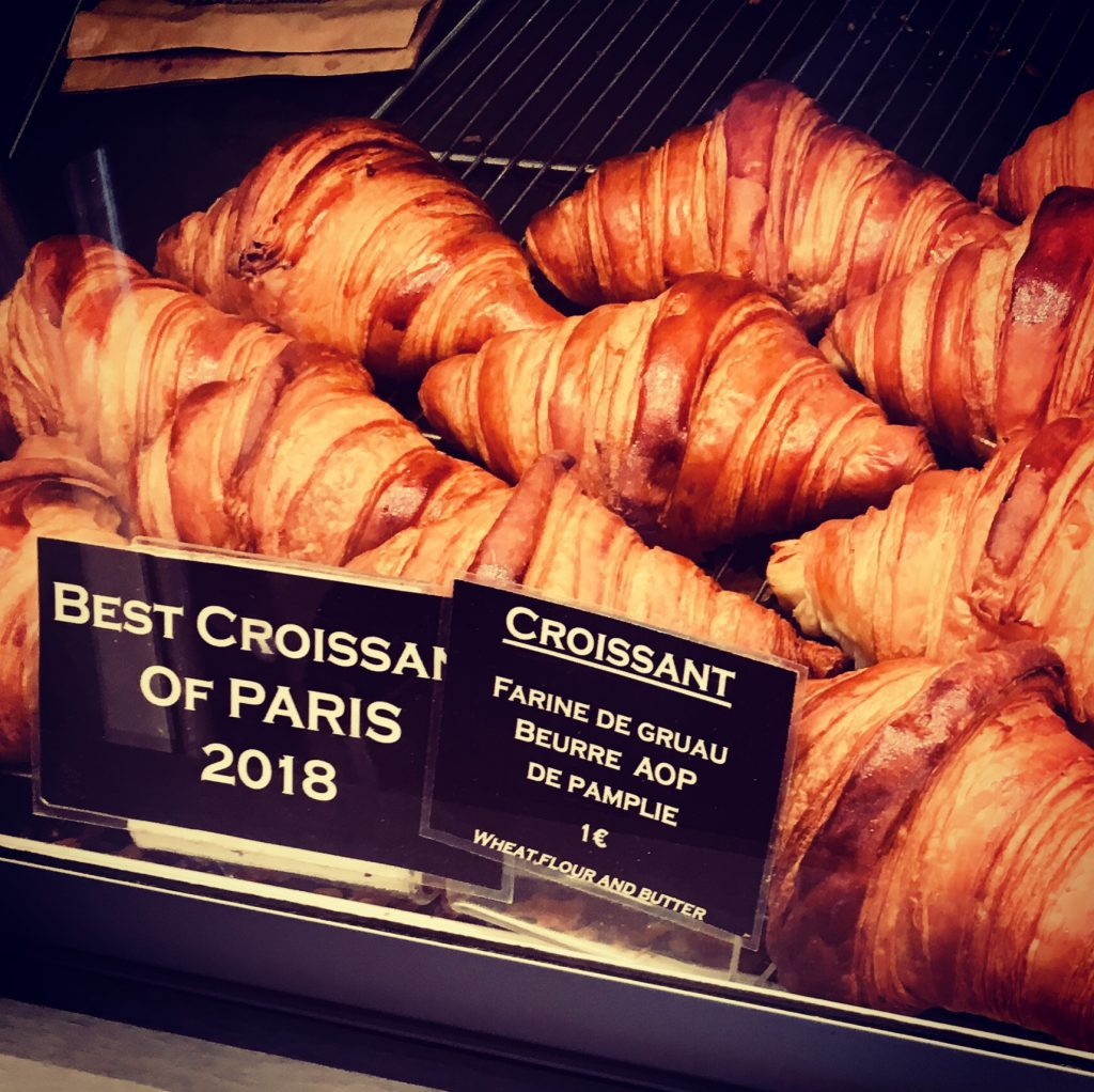 """All-butter croissants at La Maison d'Isabelle, a Latin Quarter bakery serving some of the best """"croissants au beurre"""" in Paris. Image: Courtney Traub/All rights reserved."""