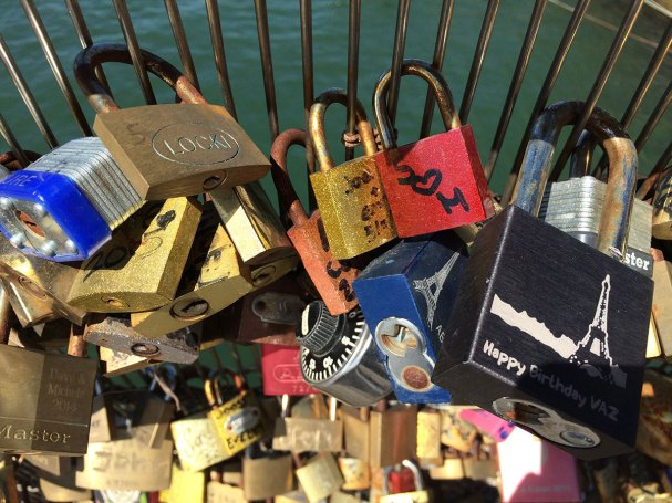 """""""Locks of Love"""" on a Paris bridge; a habit very unpopular with our tour guide"""