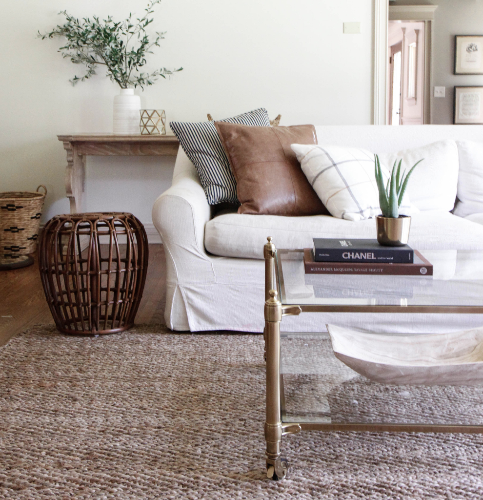 Park and Oak living room with brass coffee table