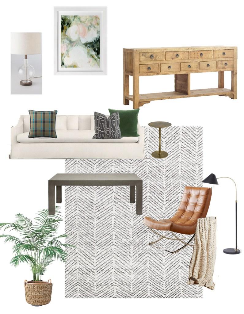 Park & Oak living room design board