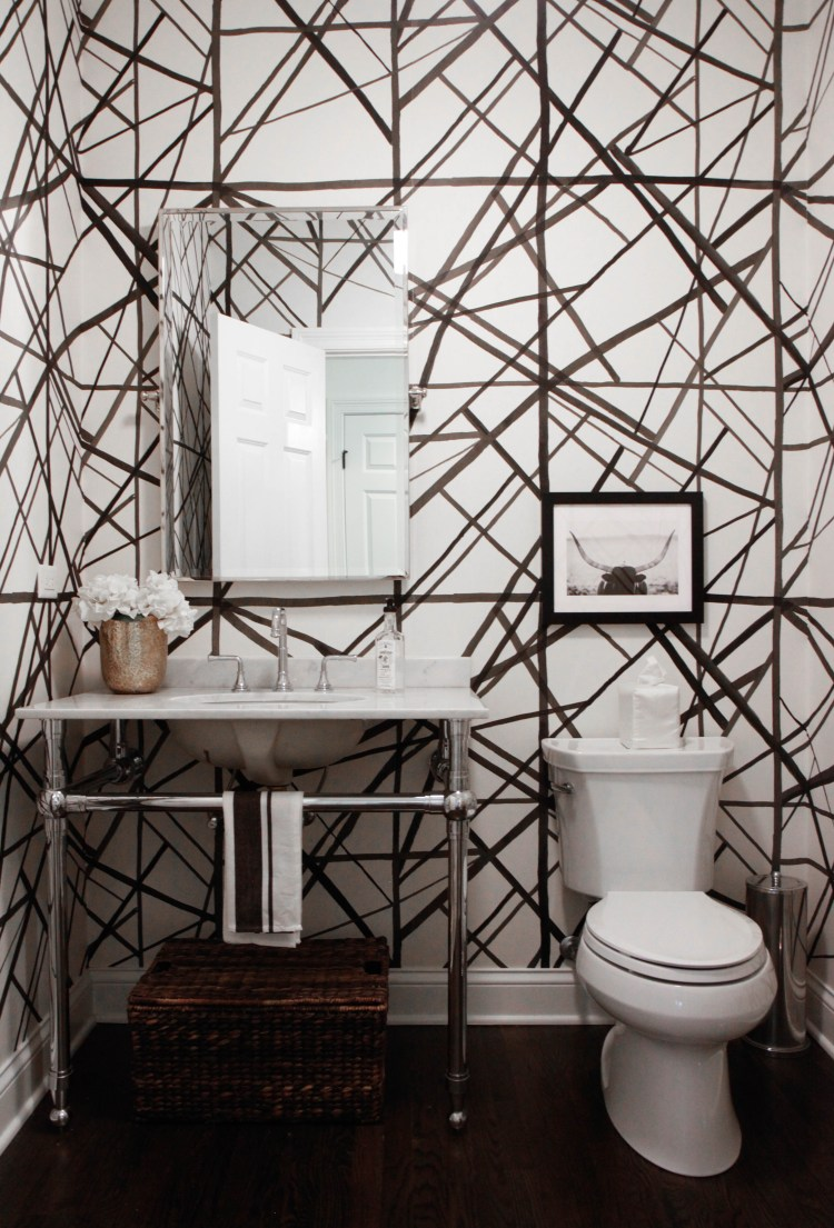 Kelly Wearstler wallpaper powder room